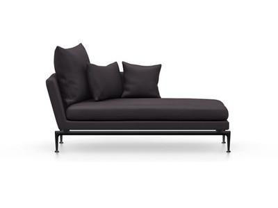 Vitra Suita Sofa Chaise Longue klein Credo - basic dark, weich, Rückenkissen Spitzkissen, dunkelblau/schwarz, rechts