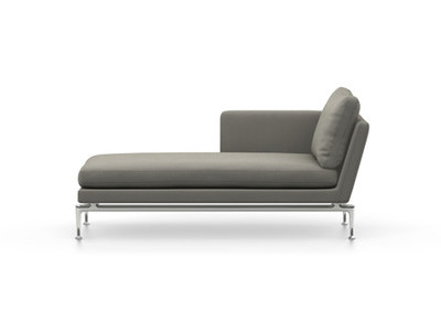Vitra Suita Sofa Chaise Longue klein Credo - poliert, fest, Rückenkissen Classic, salt'n pepper, links