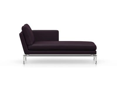 Vitra Suita Sofa Chaise Longue klein Credo - poliert, weich, Rückenkissen Classic, schwarz/aubergine, rechts