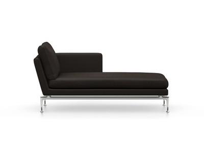 Vitra Suita Sofa Chaise Longue klein Credo - poliert, weich, Rückenkissen Classic, chocolate/schwarz, rechts