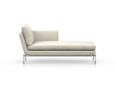 Vitra Suita Sofa Chaise Longue klein Credo - poliert, weich, Rückenkissen Classic, creme, rechts