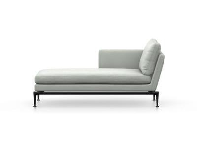 Vitra Suita Sofa Chaise Longue klein Credo - basic dark, weich, Rückenkissen Classic, creme/delfin, links