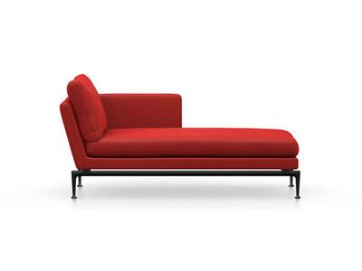 Vitra Suita Sofa Chaise Longue klein Credo - basic dark, weich, Rückenkissen Classic, red chilli, rechts