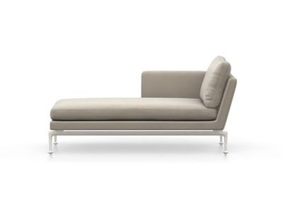 Vitra Suita Sofa Chaise Longue klein Credo - soft light, fest, Rückenkissen Classic, gestein, links