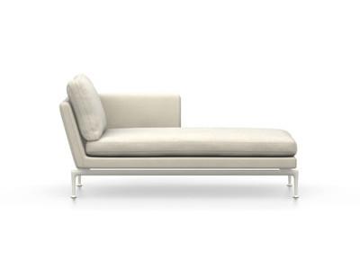 Vitra Suita Sofa Chaise Longue klein Credo - soft light, fest, Rückenkissen Classic, creme, rechts