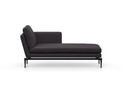 Vitra Suita Sofa Chaise Longue klein Credo - basic dark, fest, Rückenkissen Classic, dunkelblau/schwarz, rechts