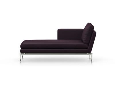Vitra Suita Sofa Chaise Longue klein Credo - poliert, weich, Rückenkissen Classic, schwarz/aubergine, links