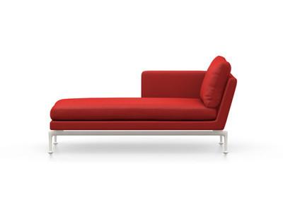 Vitra Suita Sofa Chaise Longue klein Credo - soft light, weich, Rückenkissen Classic, red chilli, links