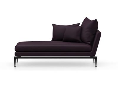 Vitra Suita Sofa Chaise Longue klein Credo - basic dark, weich, Rückenkissen Spitzkissen, schwarz/aubergine, links