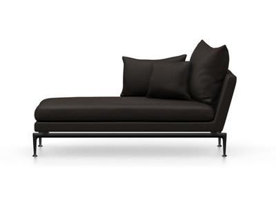Vitra Suita Sofa Chaise Longue klein Credo - basic dark, weich, Rückenkissen Spitzkissen, chocolate/schwarz, links