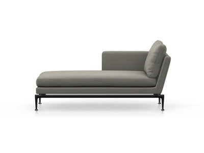 Vitra Suita Sofa Chaise Longue klein Credo - basic dark, fest, Rückenkissen Classic, salt'n pepper, links