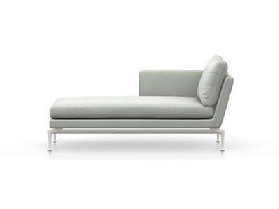 Vitra Suita Sofa Chaise Longue klein Credo - soft light, weich, Rückenkissen Classic, creme/delfin, links