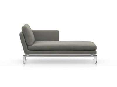 Vitra Suita Sofa Chaise Longue klein Credo - poliert, fest, Rückenkissen Classic, salt'n pepper, rechts