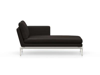 Vitra Suita Sofa Chaise Longue klein Credo - soft light, weich, Rückenkissen Classic, chocolate/schwarz, rechts